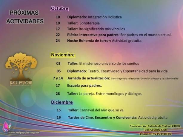 octubre, noviembre y diciembre